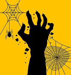 Zombie hand with spider web for halloween day vector