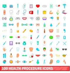 100 health procedure icons set cartoon style vector image