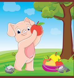 piglet with apples vector image