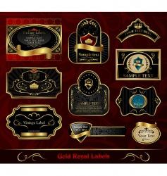 Set black gold framed label vector