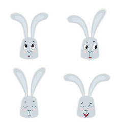 set of cute rabbits funny little bunny vector image vector image