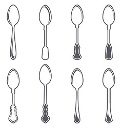 Set of eight tablespoons vector image