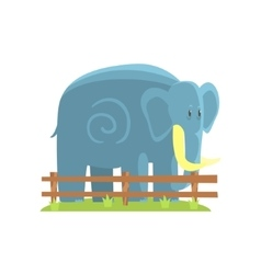 Simplified Blue Elephant Standing On Green Grass vector image
