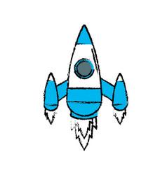 Technology rocket design to explore the galaxy vector