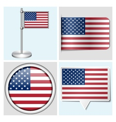 USA flag - sticker button label and flagstaff vector image vector image