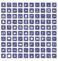 100 construction icons set grunge sapphire vector