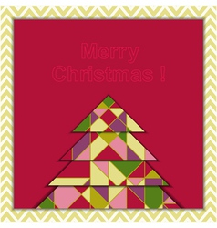 Christmas Greeting Card with Geometric Tree vector image