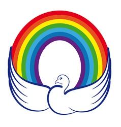 Dove with rainbow vector image