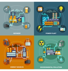Industry flat collection layout vector image vector image