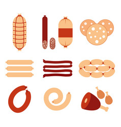 variety of sausages and meat icons set flat vector image
