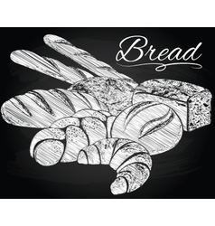 Breads on the chalkboard background vector image vector image
