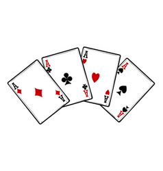 Four aces isolated on white background vector