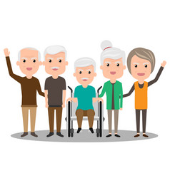 group of elderly people stand together health vector image vector image