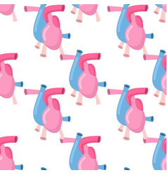 heart anatomy body seamless pattern atrial and vector image vector image
