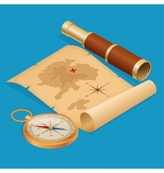 Pirate Treasure map on a ruined old Parchment with vector image