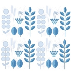 Seamless winter pattern with leaves snowflakes vector image