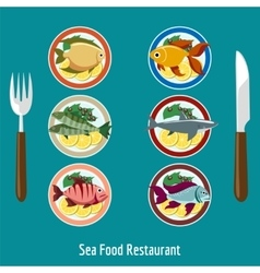 Set of fish dishes vector image