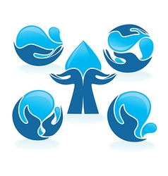 Hands and water vector