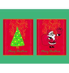 Happy New year cards with Santa and christmas tree vector image vector image