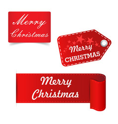 Merry christmas red sticker badge vector