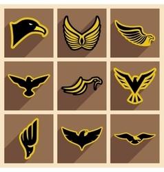 Stylish set of eagles vector