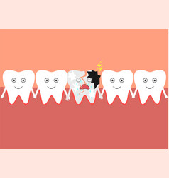 a number of teeth including one cracked tooth vector image