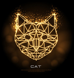 Abstract polygonal tirangle animal cat neon sign vector