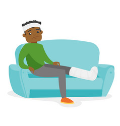 African man with broken leg sitting on the couch vector