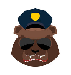Angry bear in police cap aggressive grizzly head vector