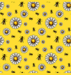 Apiary bee chamomile hand drawn vintage vector