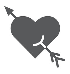 arrow and heart glyph icon romance and love vector image