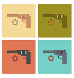 Assembly flat icons kids toy pistol vector