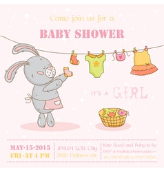 Baby Shower or Arrival Card - with Mommy Bunny vector image vector image