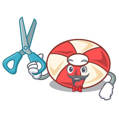 Barber swim tube character cartoon vector