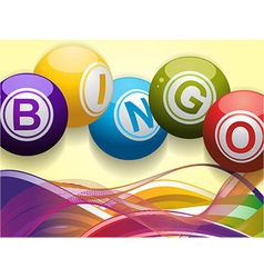 Bingo balls and waves background vector