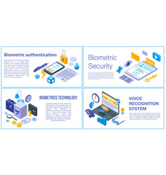 Biometric authentication banner set isometric vector