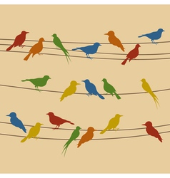 Birds sit on wires vector