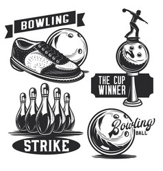bowling emblems labels logos vector image