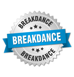 Breakdance 3d silver badge with blue ribbon vector