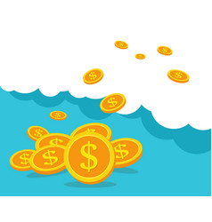 Business concept coins on blue clouds business vector