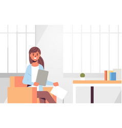 Businesswoman sitting at workplace desk business vector