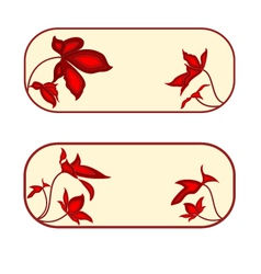 Button banner rectangle with red flowers vector