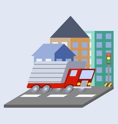 Cargo truck flat skew icon vector