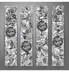 Cartoon cute doodles Nail salon banners vector image