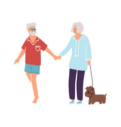 cartoon old people walking with dog together vector image