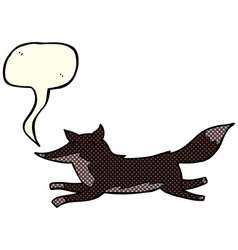 Cartoon running wolf with speech bubble vector