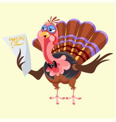 Cartoon thanksgiving turkey character holding menu vector