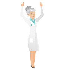 Caucasian doctor standing with raised arms up vector