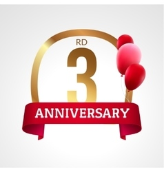 Celebrating 3rd years anniversary golden label vector