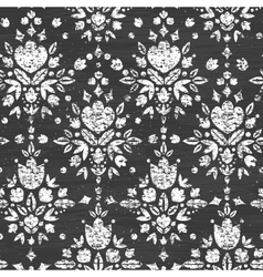 Chalk textured floral damask seamless pattern vector image